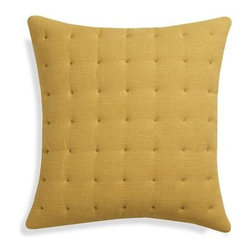 """Pelham Yellow 20"""" Pillow with Down-Alternative Insert - Tiny tufts snuggle up in livable, breathable linen, wash-dyed to a soft hue for a snuggly-worthy, casual touch to bed or sofa. Pillow reverses to solid cotton. Our decorative pillows include your choice of a plush feather or lofty down-alternative insert at no extra cost."""