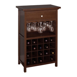 Winsome Wood - Winsome Wood Wine Cabinet w/ Drawer & Glass Rack - With room for 20 bottles, wine glasses, and a drawer for accessories, the Regalia Wine Cabinet holds everything necessary for preparing and enjoying a glass of wine. Wine Cabinet (1)