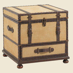 Gunnison Trunk Table - The fabric covered exterior is exquisitely detailed with leather strapping, nailhead trim, and aged antique brass hardware. The bottom drawer provides storage, and the top lid opens to reveal a sliding removable tray with file storage below.