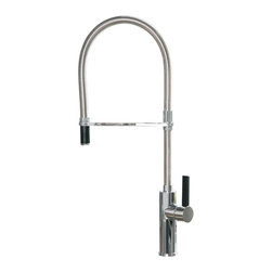 Maestrobath - Flambe Round Chrome Italian Kitchen Faucet - This luxury single handle kitchen faucet with turning spout and pull out mono shower is a beautiful focal point in any kitchen. The high end Italian faucet can accommodate any type of kitchen sink. The contemporary faucet is easy to install, keep clean and maintain. Modern chrome faucet is also available in brushed nickel finish. Whether your decorating style is traditional or modern, Maestrobath products will compliment your home improvement project and add a lavish, luxurious feel while protecting your health, safety and the environment.Here is more information related to MaestroBath: Services Provided: Luxury Handmade Italian Vessel Sinks, Modern and Contemporary Kitchen and Bath Fixtures. Business Description: Maestrobath delivers contemporary and modern handmade Italian bathroom sinks and designer faucets to clients with taste of luxury. It carries a wide selection of beautiful and unique Travertine, Crystal and Glass vessel sinks in variety of colors and styles. Maestrobath services homeowners and designers globally.