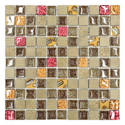 "Mosaic Decor - Burgundy Brown Gold Glass Mosaic Kitchen Backsplash Tile, 12"" X 12"" Sheet - Burgundy, brown and gold colors glass, resin and ceramic mixed kitchen backsplash tile."