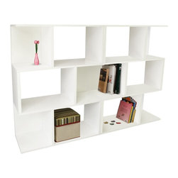 Way Basics - Way Basics Double Madison Bookcase and Room Divider - PS-3S-1-WE-2 - Shop for Bookcases from Hayneedle.com! Take care of clutter organize your living area or shake up a big empty room with the functional style of the Way Basics Double Madison Bookcase and Room Divider. This spacious shelving unit gives you plenty of room to display games books toys or anything else that needs organization. Assembly is easy; just peel and stick the 3M Brand adhesive strips and you're set. No tools required. Paper dowels are used to assist in alignment. You can feel good that this unit is eco-friendly as it's made from zBoard recycled paperboard material making it lightweight strong water resistant and best of all completely recyclable. Mix and match with our other storage cubes to create a piece that fits your needs. This set is available in your choice of colors. About Way BasicsWay Basics is an innovator of eco-friendly furniture and has been creating a wide variety of products using recycled materials for their customers to enjoy in the home and office. Their products require no tools to assemble and are designed to add style and function to any space without leaving a heavy footprint on the environment. Way Basics also works with furniture banks and charities around the globe to help those families in need and is a founding member of the Sustainable Furnishings Council a coalition united to promote environmentally healthy practices in the industry.