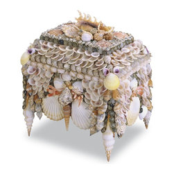 Currey & Company - Currey & Company Boardwalk Shell Jewelry Box CC-1251 - Interesting shell details with a lot of color. Natural shells make this unique box a treasure for any setting.