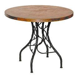 """Mathews & Company - South Fork Bistro Table with 36"""" Round Copper Top - Part of the gorgeous South Fork collection, the base of this bistro table is hand crafted in whimsical twisted wrought iron for a natural look and finish. Sturdy, but still delicate in appearance, you could not ask for a more beautiful addition to your home decor. A stunning copper tabletop and matching chairs can be purchased to complete the ensemble, creating the ideal space whether you are looking for romantic dinners or simply extra seating for entertainment. Pictured in Copper top and Black finish."""
