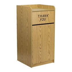 """Flash Furniture - Wood Tray Top Receptacle in Oak Finish - When in need of a large capacity trash can this push door receptacle by Flash Furniture will be the perfect addition in many environments. The """"Thank You"""" text encourages people to place trash in the receptacle and the top is designed for food trays to prevent accidental disposals. The front door allows for easy removal of trash and the floor glides help protect your floors.; Commercial Grade Trash Receptacle; Large capacity trash can for high traffic areas; Push Door with """"Thank You"""" Message; Push Door: 20.625""""W x 10.25""""H; Tray Top helps prevent accidental food tray disposal; Tray Top: 2.75""""H; Front Door allows for quick and easy trash removal; Constructed of .6875"""" thick melamine laminate wood; Easy to Clean Surface; Oak Melamine Finish; Floor Glides protect floors; Easy To Assemble; Assembly Required: Yes; Country of Origin: China; Warranty: 2 Years; Weight: 90 lbs; Dimensions: 46""""H x 22""""W x 21.75""""D"""