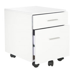 Safavieh - Piedmont File Cabinet - With all the style and functionality of an art studio taboret, the Piedmont file cabinet has plenty of room for stowing important papers and office supplies.  Crafted of MDF with a shiny white lacquer look finish, this piece comes on casters for mobility.