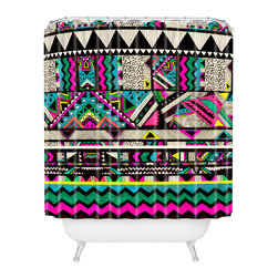 DENY Designs - Kris Tate Fiesta 1 Shower Curtain - Who says bathrooms can't be fun? To get the most bang for your buck, start with an artistic, inventive shower curtain. We've got endless options that will really make your bathroom pop. Heck, your guests may start spending a little extra time in there because of it!