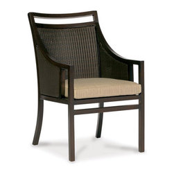 Thos. Baker - audrey armchair - The audrey collection features durable powder-coated aluminum frames with N-dura� all-weather woven wicker inserts in black walnut. The hand applied java powder-coat is almost indistinguishable from genuine mahogany.