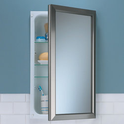Hampton Recessed Medicine Cabinet - Add this medicine cabinet to your bathroom for a contemporary accent. It features a beautiful frame and three adjustable glass shelves.