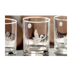 Rolf - Duck Design Set Of 4 Double Old Fashioned Glasses - Transform your table setting into one of sheer elegance, with our spectacular set of 4 Duck double old fashioned glasses. Made by the Rolf Glass collection, each glass is designed with exceptional quality and style. Boasting a deep sandblasted duck and perfectly diamond wheel engraved landscape, these dof's portray a charming and sophisticated look. * Capacity 14 oz * Gift Boxed, * dishwasher safe