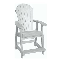 """Outdoor Furniture - You're invited to relax and enjoy the view from the Comfort Craft maintenance free Adirondack Balcony Chair. Seven inches taller than our Adirondack Deck Chair but just as comfortable with an added foot rest. Built in the USA from solid, durable, high density, recycled HDPE plastic for the look and feel of real wood. Virtually maintenance free. Extremely easy to clean with soap and water. Works well with the Comfort Craft 28"""" Cafe Table and the 39"""" Pub Table."""