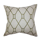 """The Pillow Collection - Nevaeh Geometric Pillow Green 18"""" x 18"""" - Add some flair to your home with this gorgeously patterned accent pillow. This throw pillow features a unique geometric print in green hue against a natural background. Use this toss pillow to add a punch to your living room, bedroom or lounge area. Throw in other patterns or solids for a contemporary style. Made of 100% high-quality materials and proudly crafted in the USA."""
