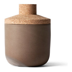 MENU - New Norm storage jar, 8.5in, 41oz - This storage jar has a character and style of its own. Earthen tones and contrasting textures combine to create a simply elegant container — one that looks fabulous no matter what you store inside.
