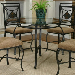 Cramco - Cramco Glendale Round Glass Top Dining Table - Espresso/Slate Dark Brown - CCO31 - Shop for Dining Tables from Hayneedle.com! Curvaceous and slate-studded the Cramco Glendale Round Glass Top Dining Table - Espresso/Slate adds visual drama to your dining space. This steel table has a powder-coated espresso finish curved X stretcher and diamond-shaped slat detailing. The round clear glass top has a wide beveled edge. Accommodates four comfortably.About CramcoBased in Philadelphia Pennsylvania Cramco provides an expansive selection of dining and dinette sets from traditional to contemporary. Quality materials including wood glass marble and laminate are used to create designs you'll love.