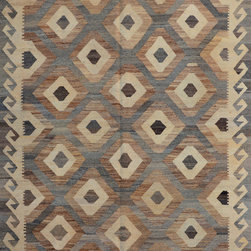 "ALRUG - Handmade Brown Oriental Kilim  5' 3"" x 7' 3"" (ft) - This Afghan Kilim design rug is hand-knotted with Wool on Wool."