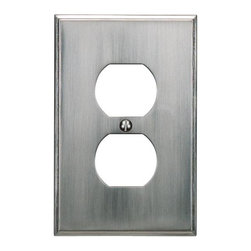 Atlas Homewares - Brushed Nickel Sutton Place Outlet Plate (ATHSUTPOPBRN) - Brushed Nickel Sutton Place Outlet Plate