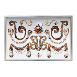 Kathy Kuo Home - Sela Coastal Beach Natural Brown Shell Grotto Wall Decor - by Karen Robertson - Shell done! This magnificently crafted artwork reflects meticulous handwork and a unique artistry that you won't often find in modern times.