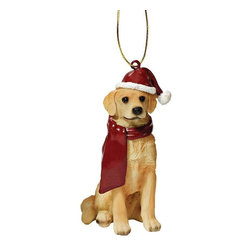 "EttansPalace - Golden Retriever Holiday Dog Ornament Sculpture - With a festive Santa hat and red scarf, this adorable Golden Retriever dog ornament has neither a ""bark"" nor a ""bite"" worth worrying over! Our Golden Retriever dog ornament is realistically sculpted, cast in quality designer resin and hand painted for the ""discriminating dog lover"". The perfect canine gift for Golden Retriever dog aficionados and a fun way to include your pets in holiday decorating! Approx. 2.5""W x 1.5""D x 3.5""H. .5 lb."