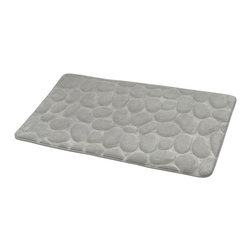 Microfiber Stone Shape Bath Rug Light Grey - This Stone shaped microfiber bath rug is 100% polyester. Ultra-soft touch and sophisticated in any bathroom with its pebble design, it brings a spa-like feel to your bathroom. This bath rug prevents slips with its PVC non-skid backing. Machine wash cold and no dryer. Width 17-Inch and length 29.5-Inch. Indoor use only. Color light grey. Add underfoot softness and a perfect finishing touch to your bathroom decor with this trendy microfiber bath rug! Complete your decoration with other products of the same collection. Imported.
