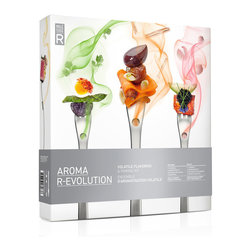 """Molecule-r - Molecule-R Aroma R-evolution - The Molecule-R Aroma R-Evolution volatile flavoring & pairing kit offers a fascinating experience that will trick your mind and forever change the way you perceive flavors!  Our taste buds can only recognize 5 primary tastes while your nose is capable of distinguishing the subtle flavors of food as aromas reach the back of your palette upon expiration. The Aromafork� provides a flow of aromas upon inhalation  therefore doubling the flavors your brain can analyze!  Product Features     3 """"Beans"""" aromas - chocolate  coffee  and vanilla   4 """"Fruits"""" aromas - banana  lychee  passion fruit and strawberry   3 """"Herbs"""" aromas - basil  cilantro and mint  3 """"Nuts"""" aromas - almond  coconut and peanut  4 """"Spices"""" aromas - black pepper  cinnamon  ginger and wasabi   4 """"Umami"""" aromas - butter  olive oil  smoke and truffle   Includes 4 Aromaforks�  4 droppers  50 diffusing papers  1 multi-sensory evening program"""
