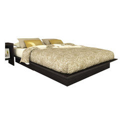 Sonax - Sonax Plateau Platform Bed in Ravenwood Black-Queen - Sonax - Beds - Q102LPB - Invite modern style into your bedroom with this contemporary Double bed from the Plateau Bed Collection by Sonax. Complete this piece with our H-102-LPB headboard for a harmonized look. This set can be assembled without a box spring making it even easier.