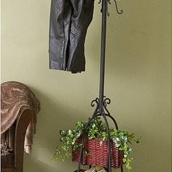 Upton Home - Black Iron Hall Tree with Rattan Baskets - This lovely black hall tree will add a decorative and functional touch to your entryway. Made from black iron with an intricate scrollwork design,this 72.5-inch-tall hall tree with two rattan baskets will hold your coats,scarves,and hats with ease.