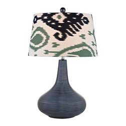 Joshua Marshal - One Light Navy Blue White With Green/blue Pattern Print Linen Shade Ta - One Light Navy Blue White With Green/blue Pattern Print Linen Shade Ta