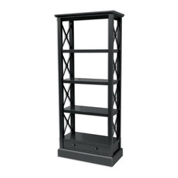 EuroLux Home - New Bookcase Black Painted Hardwood Cross - Product Details