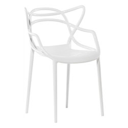 Lemoderno - Fine Mod Imports  Brand Name Dining Chair, White - With its roomy seat and slim legs, the end result is light, practical, and can be used indoors or out. As the 3 separate designs intertwine they create a silhouette that feels familiar yet is unique. Stackable up to four high For use indoors and outdoor   Assembled
