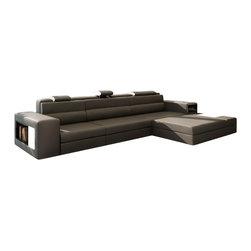 VIG Furniture - Polaris Mini - Contemporary Grey Leather Sectional Sofa - Miniature version of popular Polaris Sectional Sofa