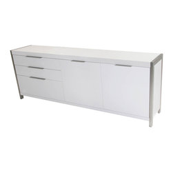 Moe's Home Collection - Neo Sideboard White - sophisticated sideboard in matt white with brushed stainless steel base