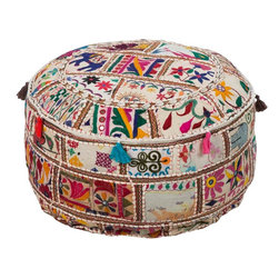 POUF-92 Karma Pouf - This beautiful round pouf is hand made from recycled materials. In a multi-colored patchwork pattern of taupe, cranberry, hunter green, and yellow, it is the perfect addtion to your design.
