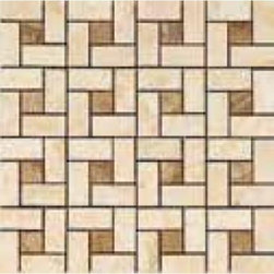 Vallelunga - Consoli Beige/Noce Pinwheel Mosaic 12.6 x 12.6 - Marble is the prince of architecture around the world because of its timeless beauty. Ceramica Vallelunga evokes its charm and timeless elegance in the Consoli porcelain tile series.