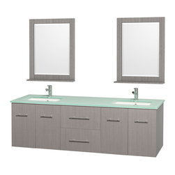 "Wyndham Collection - Centra 72"" Grey Oak Double Vanity, Green Glass Top, Undermount Square Sinks - Simplicity and elegance combine in the perfect lines of the Centra vanity by the Wyndham Collection. If cutting-edge contemporary design is your style then the Centra vanity is for you - modern, chic and built to last a lifetime. Available with green glass, pure white man-made stone, ivory marble or white carrera marble counters, with stunning vessel or undermount sink(s) and matching mirror(s). Featuring soft close door hinges, drawer glides, and meticulously finished with brushed chrome hardware. The attention to detail on this beautiful vanity is second to none."