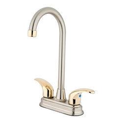 Kingston Brass - Two Handle 4in. Centerset Bar Faucet - Two Handle Deck Mount, 2 Hole Sink Application, 4in. Centerset, Fabricated from solid brass material for durability and reliability, Premium color finish resist tarnishing and corrosion, 1/4 turn On/Off water control mechanism, 1/2in. - 14 NPS male threaded inlets, duraseal washerless valve, 2.2 GPM (8.3 LPM) Max at 60 PSI, Integrated removable aerator, 4-3/4in. spout reach from faucet body, 11in. overall height, Ten Year Limited Warranty to the original consumer to be free from defects in material and finish.