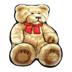 """Walk on Me - Classic Teddy Bear Playmat Rug (56""""x79"""") - What a smashing fellow! classic teddy bear design; crisp, delightfully warm colors; exquisitely soft, velvety fibers - tender and comforting - a dear friend for your little one - vanilla, honey, golden brown, brightest red, jet black - machine washable, hypoallergenic, non-slip - Made in France"""