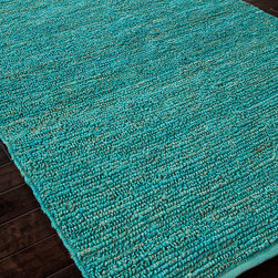 Calypso Cool Aqua Naturals Rug - 5' x 8' - Almost shockingly brilliant, the hot pop of turquoise in the Calypso Cool Aqua Naturals Rug partially conceals an eco-friendly secret: this high-end, durably-constructed rug is made entirely from natural jute fibers, skillfully dyed to the rich, electric color that saturates them.  Looped pile enhances the slight variations that make this blazing color pleasant to the eye.