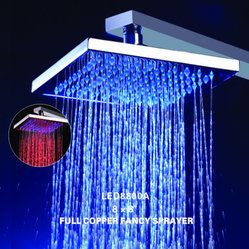 "8"" Chrome Solid Brass Square Led Shower Head"