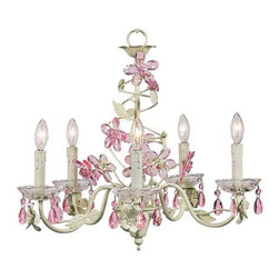 Jubilee Collection - Crystal Flower Soft Green and Pink Five-Light Chandelier - A shimmering garden of crystals. A spiral of pink crystal flowers flutters up the center of this 5-arm green chandelier. Removable glass bobeches with attached pink tear drop crystals glisten in the light. Jubilee Collection - 7369