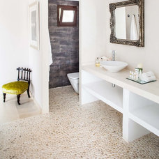 Transitional Powder Room by Anthony Harrison Photography