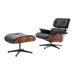 Eames Lounge Chair & Ottoman Style, Black Aniline Leather & Walnut - Our Eames-Style Lounge Chair seat cushions are perfectly contoured. The pitch is a 15% recline and the high back provides the utmost in comfortable seating. Our signature replica of the original Eames Lounge Chair comes complete with all the original features. From the leather and die cast aluminum base to the Kiln Dried Polyurethane real wooden shell, no detail has been overlooked. You can purchase your very own piece of history.