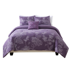 Pem America - Etched Floral King Comforter with 2 shams - Etched Floral purple microfiber comforter set. King comforter measures 108x90 inches with 2 20 x 36 inch king pillow shams. 100% Polyester Machine washable.
