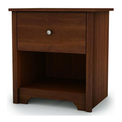 South Shore - Nightstand in Cherry Finish - Vito Collection - Incredibly affordable, the Vito Collection cherry finish nightstand is ideal for anyone on a budget.  Compact and modern, it features a lower storage shelf and roomy flush-mount drawer embellished with simple silver tone knob for a real modern look.  Rich cherry finish Manufactured from eco-friendly, EPP-compliant laminated particle boardcarrying the Forest Stewardship Council (FSC) certification. 1 Drawer. Contemporary design. Kickplates offer a modern accent . Drawer is fitted with Smart Glides for safe and easy access of your belongings. Assembly Required. 17 in. W x 21.25 in. D x 23.25 in. H