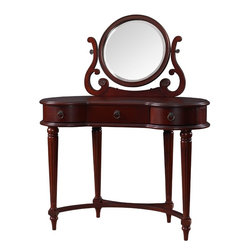 Adarn Inc. - Empress Vintage Mahogany Vanity Mirror Classic Makeup Table Rounded Edges Drawer - The Empress Vanity and Mirror is a classic, feminine bedroom addition. The vanity features a more modern style and design that employs rounded edges, swirled accents and shapely legs. A large center mirror aids in viewing so you can easily apply makeup or adorn yourself in jewels. Multiple drawers provide storage space for a variety of items.