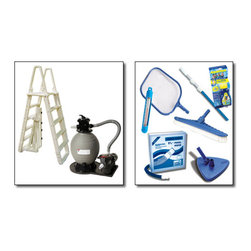 Blue Wave - Blue Wave Standard Sand Equipment Package - Small - Standard sand equipment package our standard sand pool equipment packages provide what you need to get swimming! Choose the small package for pools up to 24; round/12 x24; oval or the large package for pools larger than 24; round/12 x24; oval. Small package includes an 18; Sandman  filter system with 1 Hp pump; large package includes a 22; Sandman  filter system with 1.5 Hp pump. Standard packages also include our premium a-frame ladder for safe and easy entry. Available with 18; Sandman  sand filter system and 1-hp pump for pools up to 24 round/12 x24 oval; available with 22; Sandman  sand filter system and 1-1/2 Hp pump for pools larger than 24' round/12 x24 oval; premium a-frame ladder; maintenance kit: 3-Piece telepole, leaf skimmer, thermometer, vac hose, vinyl liner vacuum head, nylon wall brush and test strips.