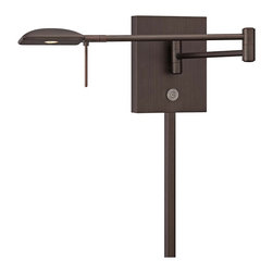 """George Kovacs - George Kovacs Square Head LED Bronze Swing Arm Wall Lamp - From the George Kovacs lighting collection comes this sleek LED swing arm wall lamp with a low-profile square head. The design is smart and contemporary with energy efficient LED lighting and three easy options for controlling the light output. It comes in a copper bronze patina finish and adjusts easily at the joint on the arm making it a great option for task or reading lighting. Plug-in style design is easy to install; simply mount on the wall plug the cord into any standard wall outlet and turn on! With an average lifespan of 30000 hours this LED lamp is designed to last. Square head LED swing arm. Copper bronze patina finish steel shade. Plug-in style; matching cord cover included. Includes 8 watt LED. 84 CRI. Light output 320 lumens. Color temperature 3000K. Push button dimmer. Touch memory switch. Lit on/off button. Includes 6 feet cord. 13 3/4"""" wide. 6 1/4"""" high. Extends 5"""" to 23 1/2"""" maximum from the wall.  Square head LED swing arm.  Copper bronze patina finish steel shade.  Plug-in style; matching cord cover included.  Design by George Kovacs.  Includes 8 watt LED.  84 CRI.  Bulb life averages 30000 hours at 3 hours per day.  Light output 320 lumens.  Color temperature 3000K.  Push button dimmer.  Touch memory switch.  Lit on/off button.  Includes 6 feet cord.  13 3/4"""" wide.  6 1/4"""" high.  Extends 5"""" to 23 1/2"""" maximum from the wall."""