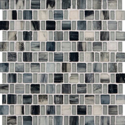 "Glass Tile Oasis - Grey Sky 1"" x 1"" Grey Pool Frosted Glass - Sheet size:  12 3/4"" x 12 3/4"".     Tile Size:  1"" x 1"" and 1/2"" x 1""     Tiles per sheet:  192     Tile thickness:  1/4""    Recycled Components:  25-70%     Sheet Mount: Paper Face      Sold by the sheet      -  These tiles are each a one of a kind work of art. Each of the six styles feature complimentary colors  shot through with transparent layers of contrasting colors  giving the tiles a unique feeling of depth. They are stacked into square and rectangular sizes to create a unique repeating pattern.These tiles are hand-poured and will have a certain amount of variation and variegation of color  tone  shade and size. Additionally  you will notice creases  wrinkles  shivers  waves  bubbles topped off with a natural surface to catch all forms of light for a brilliant effect. These characteristics of natural glass only serve to enhance the final beauty of the installation."