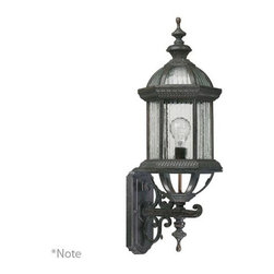Quorum International - Stelton Rustic Silver One Light Outdoor Wall Sconce with Water and Clear Strib G - - Stelton Large Up with Lantern  - Diffuser Material: Glass  - Shade Color: Water and Clear Strip Quorum International - 7812-72