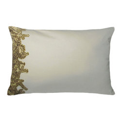 "Linen Euro - Pistachio Pillow - 25"" - Lacy and organic patterns come alive with the same techniques which enlivened rich garments and opulent homes adorned by the fiber artists of glamorous past centuries. The Fern Linen Euro Pillow displays delicate, intricate leaves in a rich woodland green against a creamy neutral backdrop, a naturalistic pattern made delightfully fresh by its unexpected placement at the Euro cushion's edge. The result is an elegant forest silhouette."