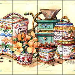 The Tile Mural Store (USA) - Tile Mural - Antique Canisters - Kitchen Backsplash Ideas - This beautiful artwork by Jerianne Van Dijk has been digitally reproduced for tiles and depicts a kitchen scene with a coffee grinder and some herbs.  Our decorative tiles of images of coffee and coffee themed tiles are perfect to use for your kitchen backsplash wall tile. A coffee tile mural adds interest and fun to your kitchen wall tile area and makes a fantastic kitchen backsplash idea. Pictures of coffee cups on tiles is timeless and these coffee decorative tiles blend with any decor. Your kitchen tile project will come to life with a tile mural featuring coffee themed tiles.